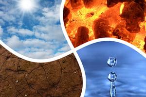 De vier elementen: Lucht, Aarde, Water en Vuur