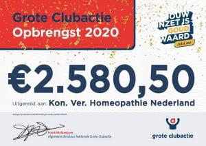 Cheque Grote Clubactie 2020 aan Vereniging Homeopathie