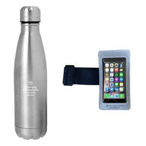 Drinkfles zilver met telefoonhoes